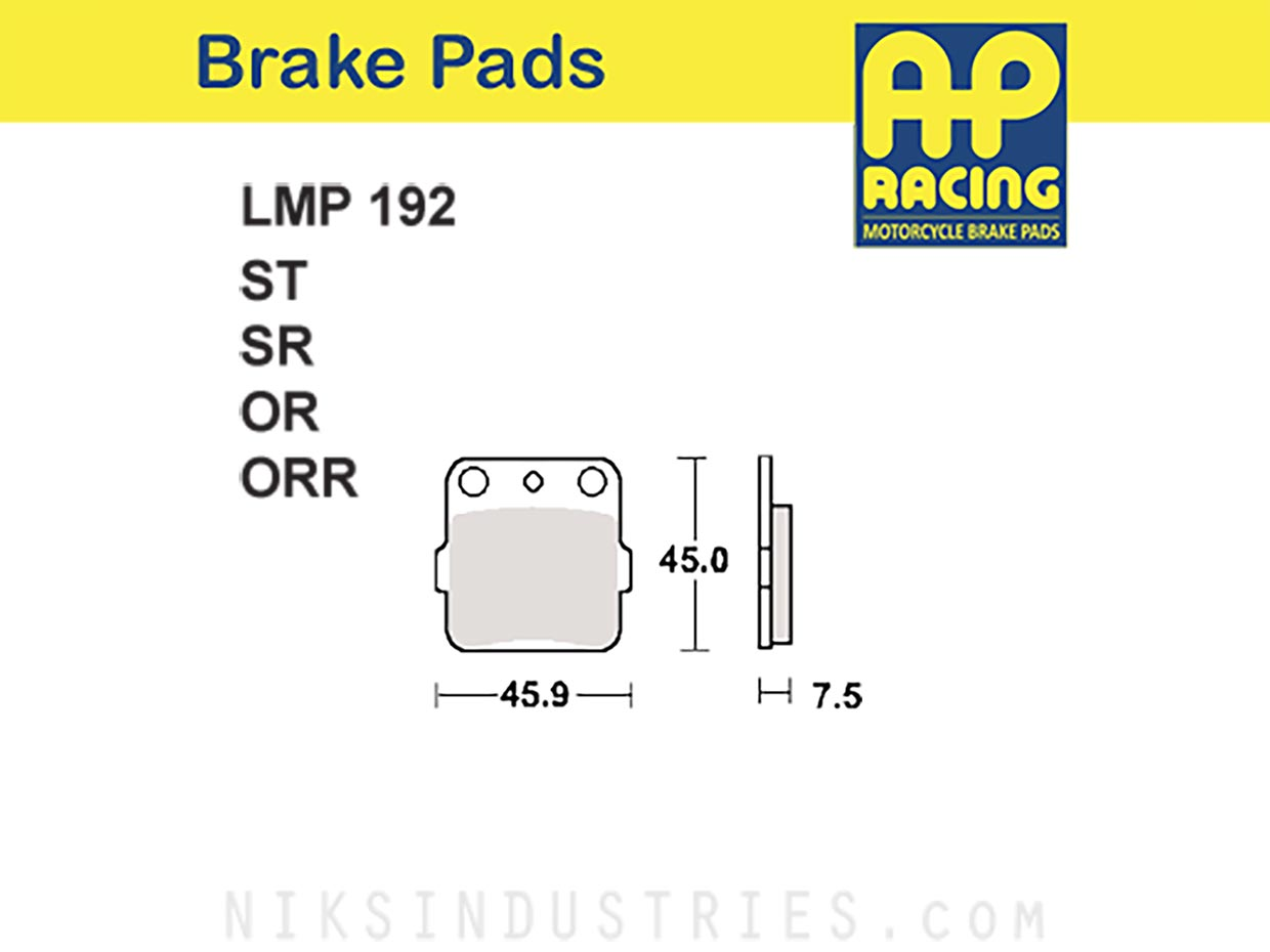 AP Racing 192ORR Brake Pads